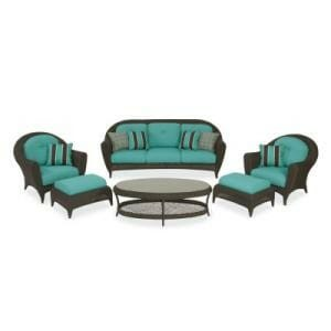 Hampton Bay Monticello 6 Pc. Blue Seating Set Replacement Cushions